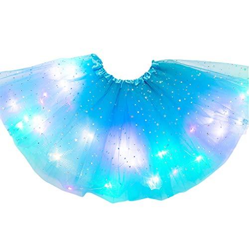 BELTI Niños Niñas LED Light Up Glitter Star Lentejuelas Ballet Danza Tul Tutu Falda 3-12T