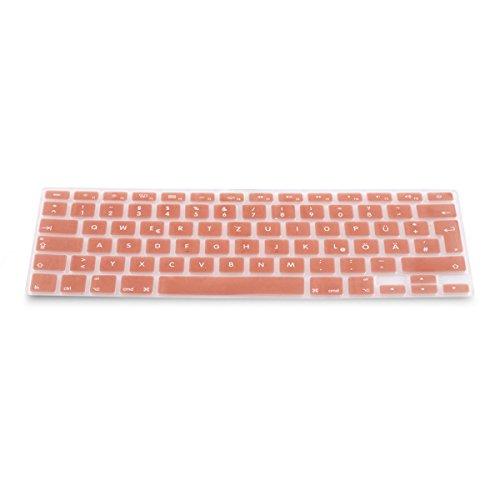 kwmobile Tastaturschutz kompatibel mit Apple MacBook Air 13''/ Pro Retina 13''/ 15'' (bis Mitte 2016) - QWERTZ Silikon Laptop Abdeckung Rosegold
