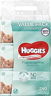 Huggies Baby Wipes Fragrance Free Value Bundle Pack (3x80 Pack) (B076CCT74R) | Amazon price tracker / tracking, Amazon price history charts, Amazon price watches, Amazon price drop alerts