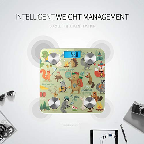 JXCSGBD Camping Animals Hand Drawn Style Motivation Scale Body Fat Smart Weight Digital Scale Best Weight Scale Tracks 8 Key Compositions Analyzer Sync with Fitness Apps 400 Lbs