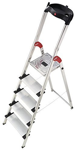 Hailo 5_8815-001 001-Escalera de Tijera de Aluminio Ancho XXL EasyClix (5 peldaños), Gris