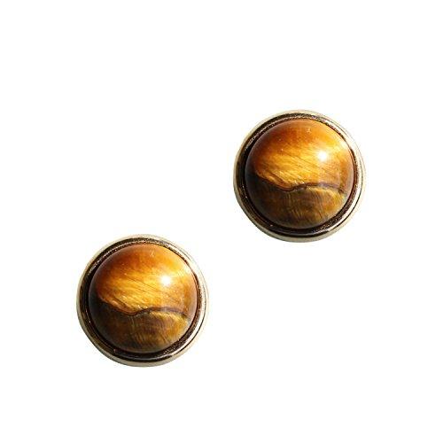 Ohrringe ESTHER Vergoldet mit Magnetverschluss und Natursteinen Tigerauge