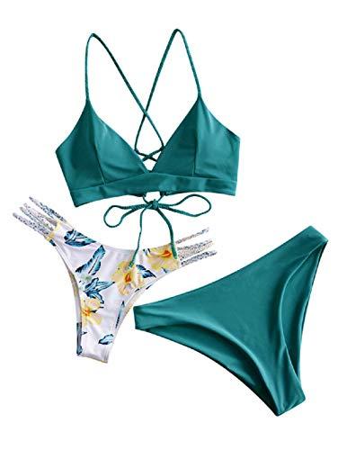 ZAFUL Damen Bikini-Set mit Flechtgurt verstellbarem BH Push-Up Rücken, Triangle Bustle Badehose mit Blummenmuster (Grün-1, S)