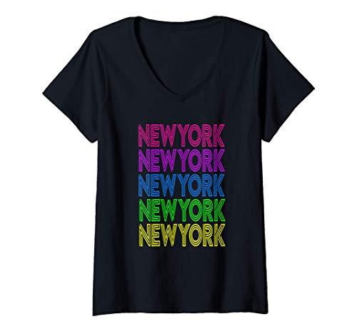 Mujer New York América Viaje Vacaciones Colorido Viaje de Verano Camiseta Cuello...