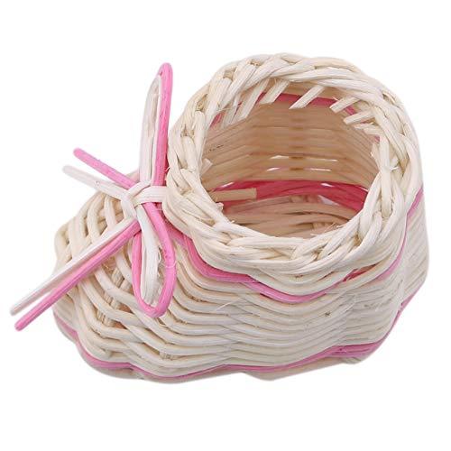 Kaned Mini cestas tejidas pequeñas cestas de zapatos para fiestas, jardín, decoración del hogar, adorno