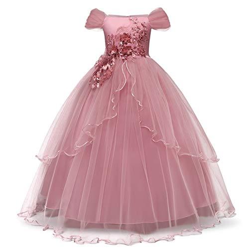 TTYAOVO Mädchen Festzug Ballkleider Kinder Chiffon Bestickt Hochzeit Kleid (02 Rosa, 11-12 Jahre)