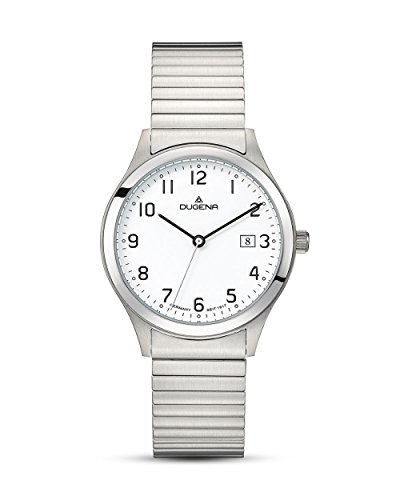 Dugena Herren Armbanduhr Bari Edelstahl 37mm silber