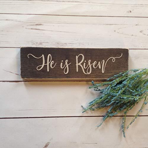 Yor242len Letrero de Madera de Pascua Texto en inglés «He is Risen E