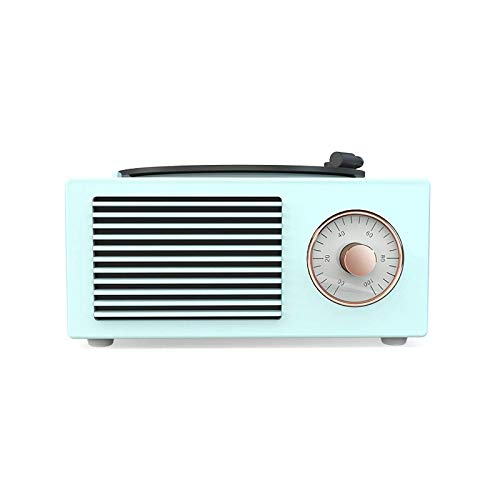 GANE Altavoces Bluetooth Radio portátil Vintage Negro Pegamento Fonógrafo Inalámbrico Retro Gramófono Reproductor de música Colorido Azul y Blanco, Regalos Adornos