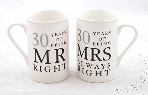 """Juego de 2 tazas de porcelana con texto en inglés """"Mr Right & Mrs Always Right"""" para regalo de 30 aniversario"""