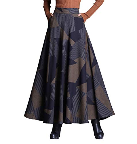 RIZ-ZOAWD Mujer Vintage Elegante Caliente Larga Falda de Lana Cintura elástica Maxi A-Line Otoño e Invierno Falda Enrejado Falda Paraguas (M (Cintura:68 cm), Color 24)