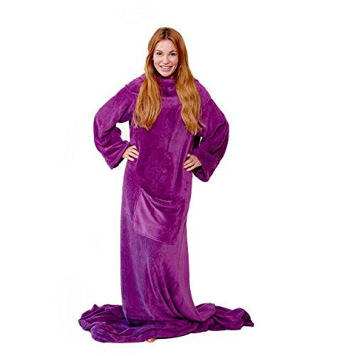 Snug Me Deluxe Batamanta - 170 x 185 cm 220g/m² coral felece manta con mangas - púrpura