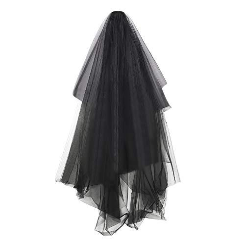 Visillo de boda negro con capa de bruja para Halloween con peine de 3 capas, velo corto, para boda, largo 5 m, disfraz para mujer, velo, novia, estilo punk, para ceremonia o fotgrafo