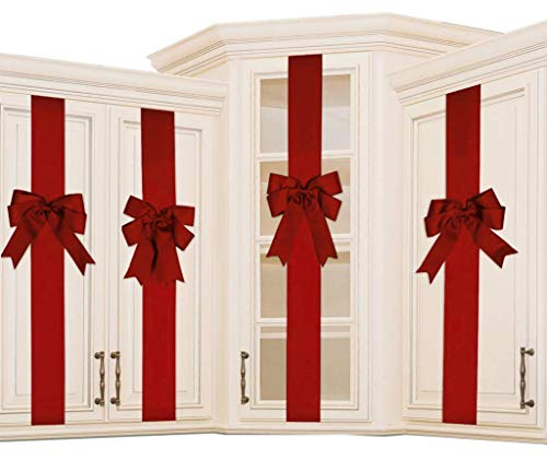 K KIRKWOOD KITCHEN 8 PCS Cabinet Door Festive Ribbons and Bows Decoration Holidays,Red