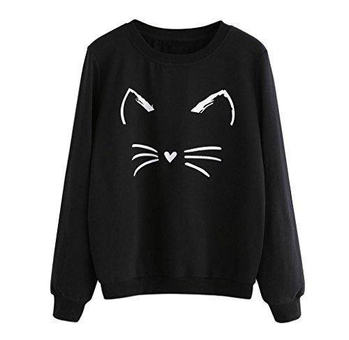 Sudaderas de Manga larga, Holacha Hoodie Blusa de Gatos Casual Moda Otoño Invierno para Mujeres (L, negro)