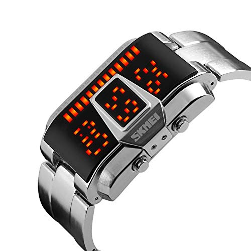 ASIAKK Herrenuhr Outdoor 50M Wasserdicht Sportuhr LED Elektronik Digitaluhr Taktik Militär Uhren,Silber