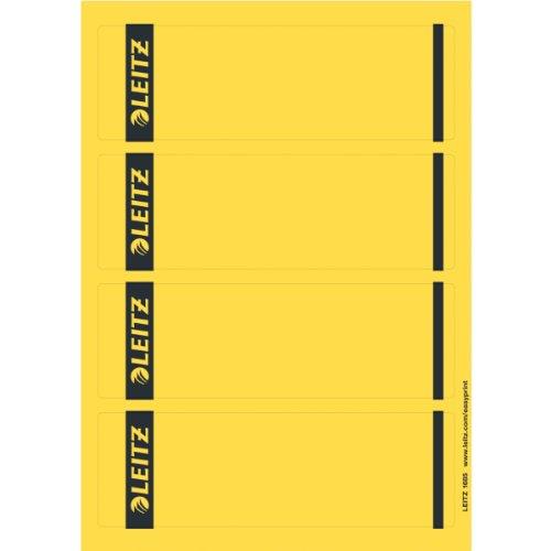 Leitz PC-beschriftbare Rückenschilder selbstklebend für Standard- und Hartpappe-Ordner, 100 Stück, Kurzes und breites Format, 62 x 192 mm, Papier, gelb, 16852015