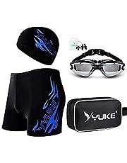 Men's Swimsuit Set Swim Goggles Swim Cap Ear Plugs Nose Clip Swim Bag Jammer Swimming Set