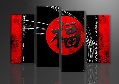 Schilderij - Chinese tekens, China, 130x80cm, 4 luik - Canvas - Muurdecoratie