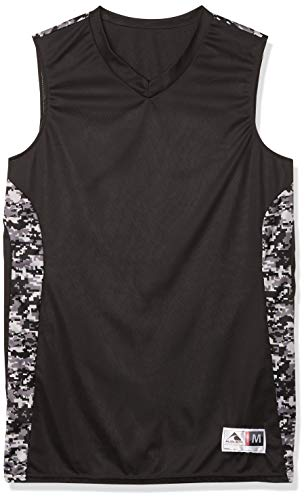 Augusta Sportswear Men's Hook Shot Reversible Jersey, Black/Black Digi, Large