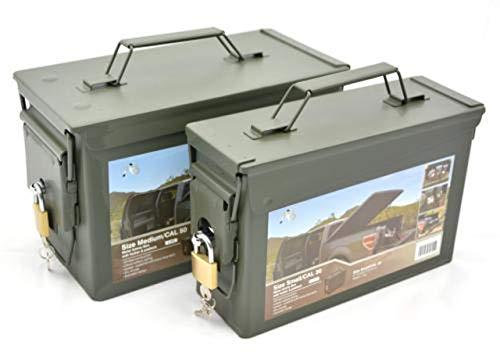 AB Abschließbare Munitions- und Werkzeugkiste mit Schloss (Oliv/2er-Set Kal. 30/Kal. 50)