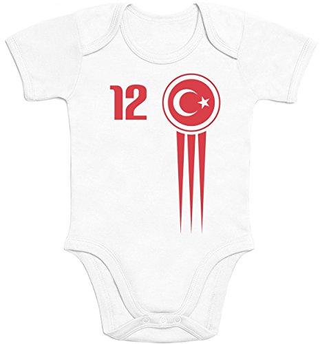 Türkei Türkiye Baby Trikot EM 2021 Fanshirt Babies Baby Kurzarm Body 3-6 Monate Weiß
