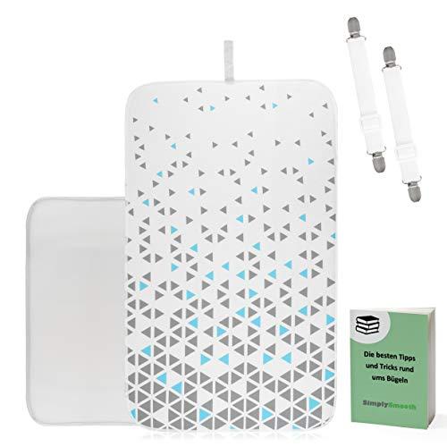 SimplySmooth Bügelunterlage 100x60 für Ihren Tisch als Alternative zum Bügelbrett - hitzebeständige Bügeldecke mit Spannern, Bügeltuch, E-Book - Extrem rutschfeste Bügelmatte zum Reisen
