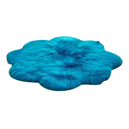 LJXX Teppich Neue Weiche Kunstpelz Wollteppich Wohnzimmer Sofa Plüsch Schlafzimmer Bettwäsche Runde Bodenmatte 90X90 cm deep blue1