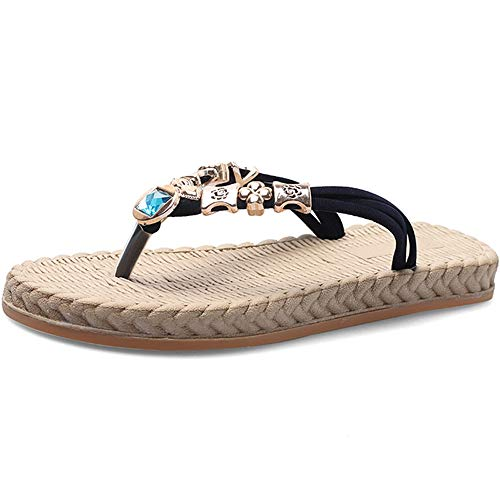 Tongs pour Femmes, Sandales De Plage, Havaiana Antidérapant, Chaussons D'été, Doux Et Confortable, Taille 35-40 (Couleur : Black, Size : 35EU)