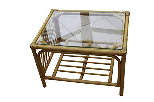 Garden Market Place Portofino Cane Coffee Table in a Natural Finish-Tempered Glass, 66 X51 X 46