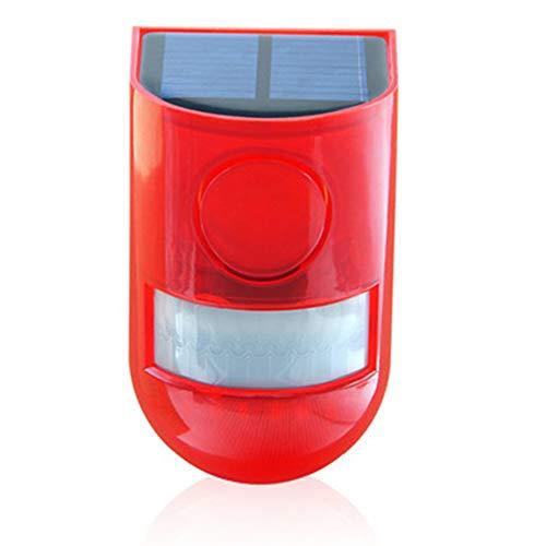 Lixada Solar Alarmleuchte,Sicherheitsalarm Warnung Blinklicht Bewegungsmelder mit Sound Rotlicht IP65 Wasserdicht,für Haus, Lager, Privatplatz