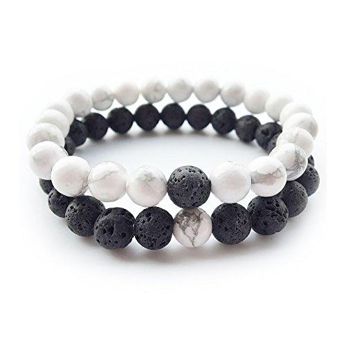 PLUXL Yin and Yang Elastic Lava Stone Essential Oil Diffuser Bracelet (Pack of 2)