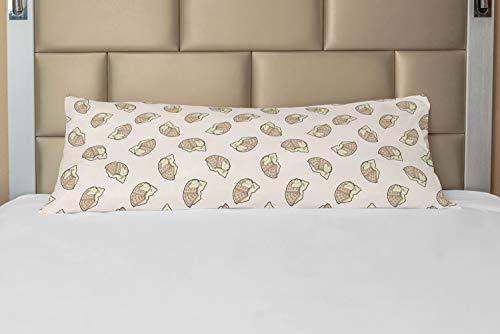 ABAKUHAUS Gaufre Taie de Traversin avec Fermeture à Glissière, Délicieux Petit déjeuner Nourriture, Taie d'oreiller Longue Décorative, 53 x 137 cm, Tan et crème