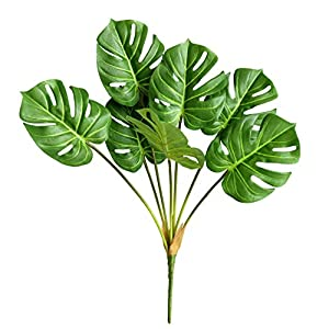 """Silk Flower Arrangements Ahvoler Artificial Tropical Monstera Palm Leaves Plant Tree Faux Real Touch 23.6"""" Tall for Tropical Wedding Floral Arrangement Indoor Outdoor Decor (Monstera Bunch-7 Branch)"""