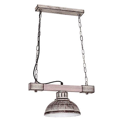Geschmackvolle Hängeleuchte in Shabby Weiß Holzfarben Vintagestil 1x E27 bis zu 60 Watt 230V aus Metall & Holz Küche Esszimmer Pendelleuchte Hängelampe Pendellampe Beleuchtung innen