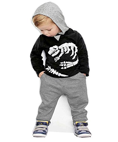CANIS Toddler Boy Hoodie Pants Set Dinasour Printed Top Regular Fit 18-24 Month