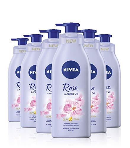 NIVEA Oil In Lotion Rose & Arganöl 6er Pack (6 x 400 ml) Replenishing Body Lotion mit Rose & Arganöl Intensive Feuchtigkeitscreme mit feuchtigkeitsspendender Formel