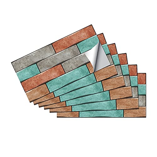 QOXEFPJZ Cenefa Adhesiva Cocina 6 unids Mosaico Piso azulejo de Pared Pegatina de azulejo 30x15cm Pegatina de azulejo baño y Cocina decoración de Azulejos de baldosas baño y Cocina