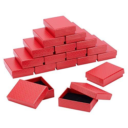 BENECREAT 18 Pack Diamantmuster Kraft Schmuck Geschenkboxen 8.6x6.4x2.6cm Rechteck Ring Ohrring Halskette Kraft Papierbox mit Schwammeinsatz für Jubiläen, Hochzeiten, Geburtstage, Rot