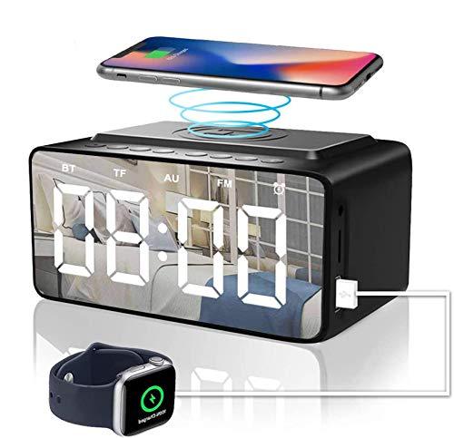 ZHENDUO Bluetooth Radiowecker USB Ladefunktion kabelloses ladegerät, Digitalwecker mit QI Wireless Charger, 3 dimmbar Modelle Küchenradio Wecker, Wecker ohne Ticken und tolles Kinderwecker