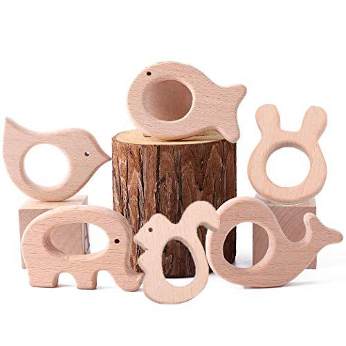 Voarge 6 Stück Baby Holz Teether Geschenk Spielzeug, Hölzern Ring Anhänger Kleiner Vogel Fisch Wal Elefant Eichhörnchen Kaninchenkopf Sensorisches Spielzeug