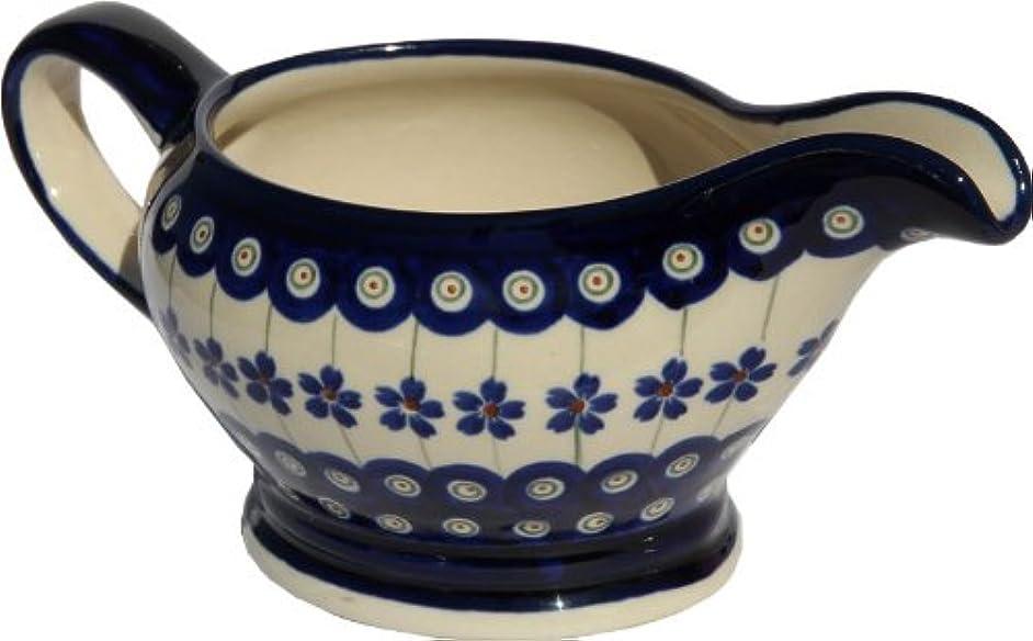 Polish Pottery Gravy Boat 16 Oz. From Zaklady Ceramiczne Boleslawiec #1258-166a Floral Peacock Traditional Pattern, Capacity 16 Oz.