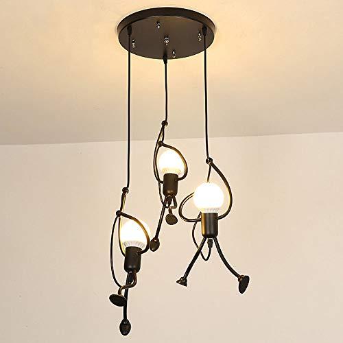YXTK Pendellampe Esszimmer Landhaus,Pendelleuchten HöHenverstellbar Leuchtmittel Hängeleuchte Industrial Kreativität Hängelampe Schlafzimmer Esstisch(Ohne Glühbirne), 3 Rounds