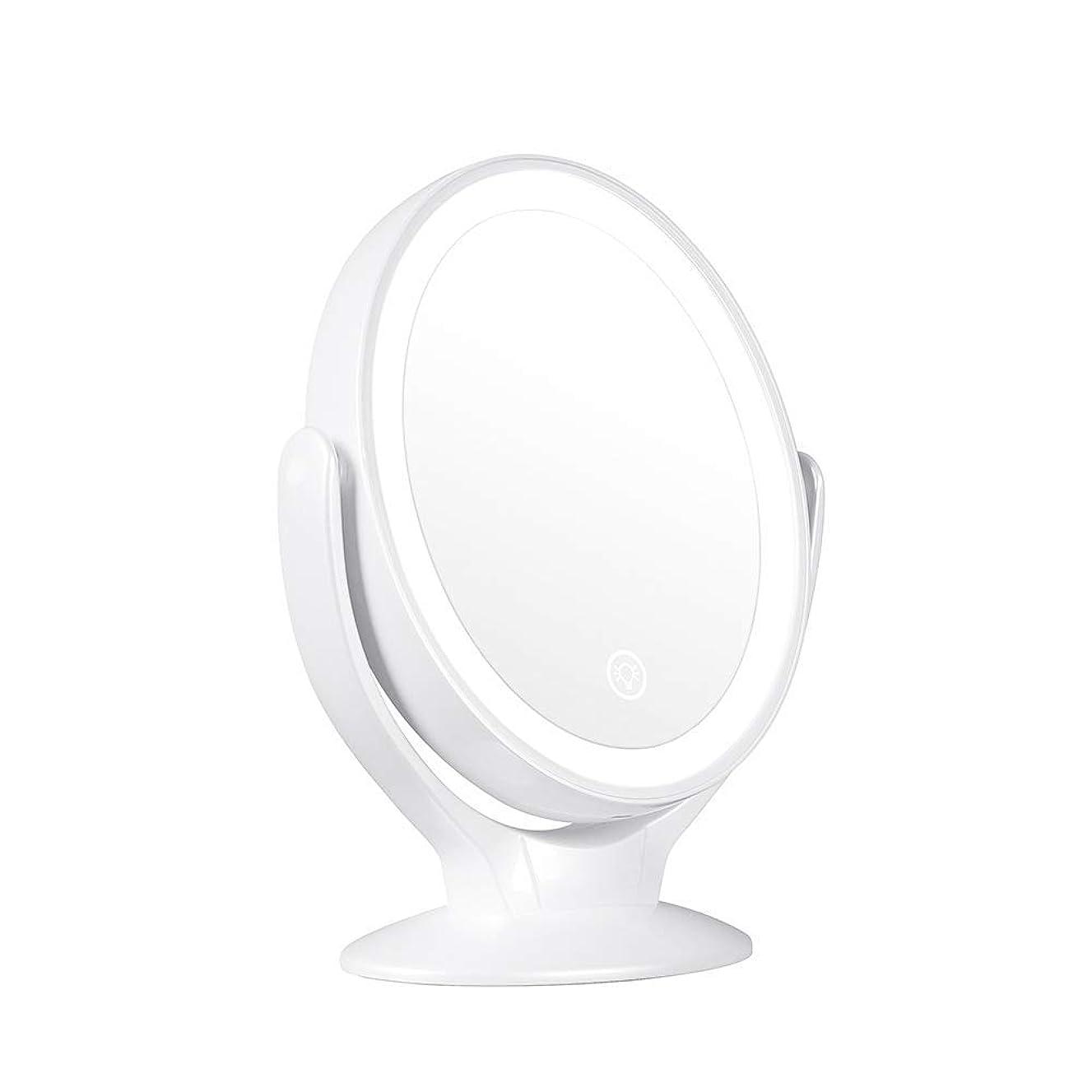 高価な苦緩む両面照明付き化粧鏡、充電式、倍率1倍/ 7倍360度回転調光対応タッチスクリーン、ポータブル卓上照明付き化粧鏡