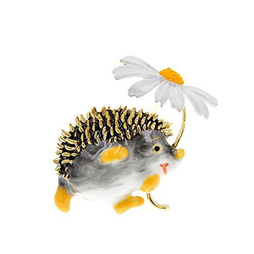 YSCSTORE HumoliStore Broche Lindo del Erizo, Broche de Moda de la Margarita, 3.6cm * Accesorios para Animales de 3,2 cm, diseño Divertido de Invierno