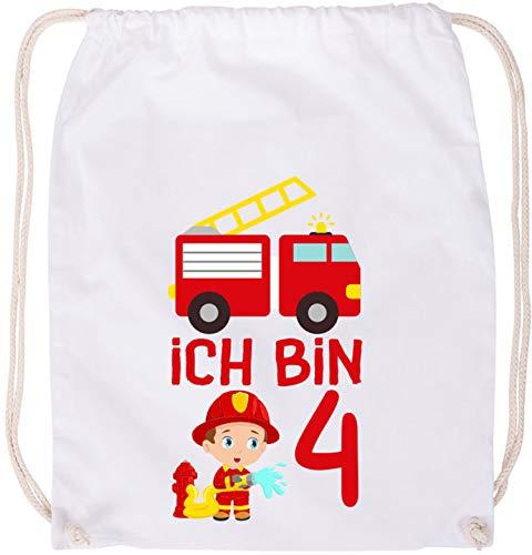 EZYshirt® Kinder Feuerwehrauto 4. Geburtstag Baumwoll Stoffbeutel