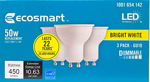 50W Equivalent Bright White MR16 GU10 LED Light Bulb (3-Pack) Dimmable