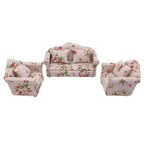 thorityau Mini sofá de casa de muñecas, 1/12 escalas, muebles de casa de muñecas, sofá, diseño de flores, juego de sofá con cojines traseros novedosos y duraderos para decoración de muebles