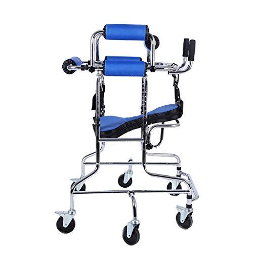 BNSDMM rollator Walker - Child-Assisted Standing Walker Trainings- und Rehabilitationsgeräte für die unteren Gliedmaßen des Kindes Steh-Walker - Mit Sitz/faltbarem/stumm geschaltetem Rad/höhenve