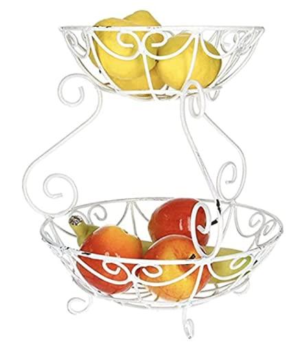 AmaCasa Shabby Etagere Weiß   Obstschale aus Metall für mehr Platz   Used Look   Der Obstkorb besteht aus einem Teil und besitzt zwei Etagen/Obstschalen   Maße: 26,5x26,5x29cm
